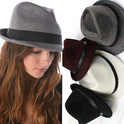 New Mens Womens Unisex calf hair Vintage Trilby Fedora 7 1/4  Wide Brim Cap Hat