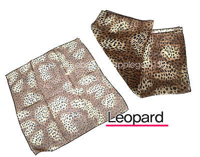 Classic  Women 1950's Square Sheer CHIFFON NECK SCARF Solid Color Leopard Flower