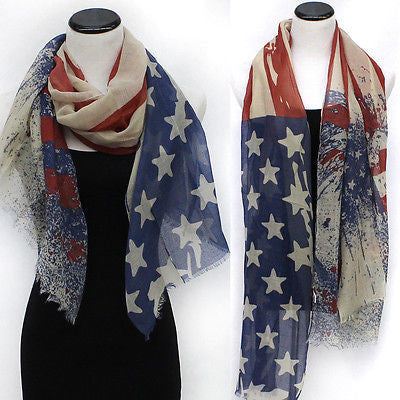 New Vintage Patriotic USA American Flag Theme Scarf Scarves Wrap Long Gift Shawl