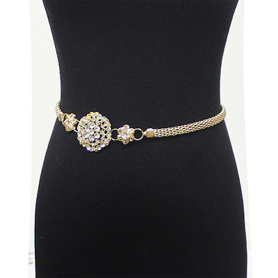Women Bling Full Metal Chain Hip Waist Belt Gold Silver Rhinestone Flower Circle