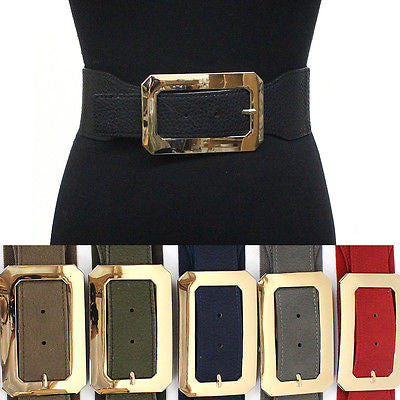 classy Women Elastic Waist Wide Belt Stretch PU Leather Gold Metal Hook Black