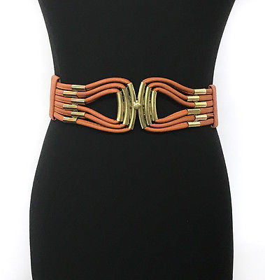 WOMEN Western Fashion ELASTIC Stretch Vintage WAIST WIDE BELT Gold Metal