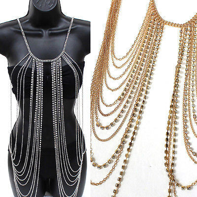Body Full Metal Chain Gold Silver JEWELRY Necklace Bikini Belly rihanna Harness