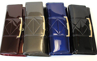 Classy Women Glossy Long Wallet  Clutch Card Coin Holder Purse Faux Leather Gift
