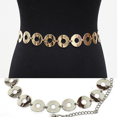 Women Bling Fashion Circle Thin Chain Full Metal Hip Waist Belt Silver Gold