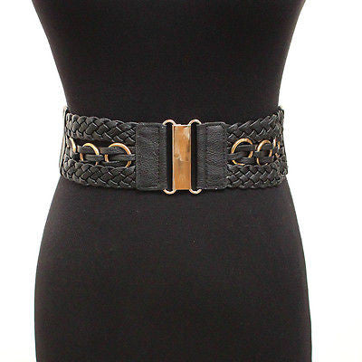 NEw WOMEN ELASTIC PU Leather Gold BUCKLE WAIST WIDE BELT Stretch Vintage Fashion