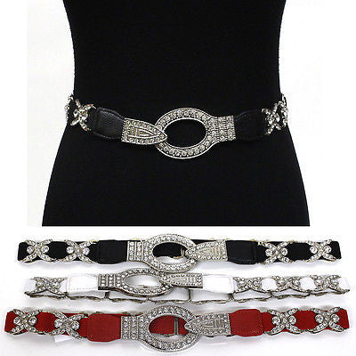 WOMEN ELASTIC BELT stretch Waistband Silver Metal Rhinestone Circle BUCKLE Thin