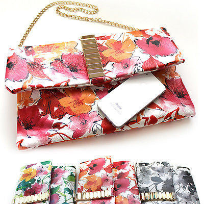 Women Handbag messenger PU Leather Cross Body Shoulde Evening Flower Bag Metal