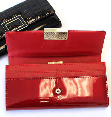 Classy Women Glossy Long Wallet  Chain Clutch Card Coin Holder Purse PU Leather