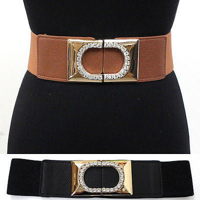 Women Fashion Wide Gold Metal RHINESTONES Elastic Waistband Belt Stretch Wedding