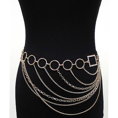 Women Wide Metal Chain Waist Hip Belt Silver Magazine Square Circle Gold S~XL