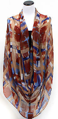 Women Classy Winter Plaid Stripes Infinity Warm 2 Circle Long Scarf Cowl Scarves