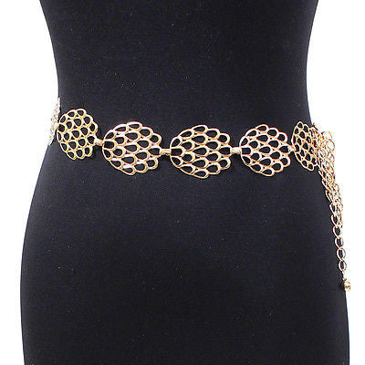 New Women Bling Fashion Flower Wide Chain Full Metal Hip Waist Belt Silver Gold