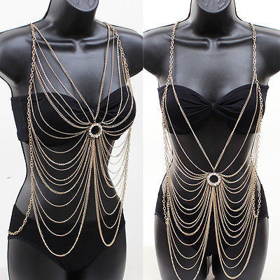 Body Metal Chain CROSSOVER JEWELRY Necklace Bikini Waist Belly ClubWear Harness
