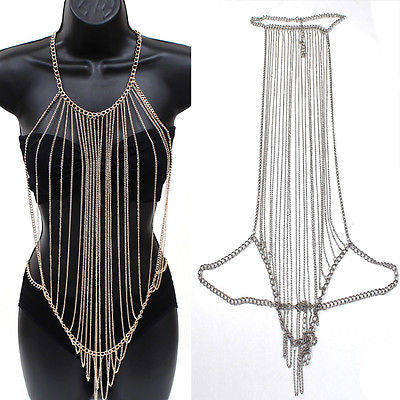 Women Body Full Metal Chain Gold Silver JEWELRY Necklace Bikini Belly Harness