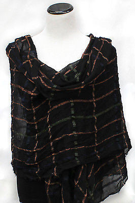 New York Style Plaid Checks wrinkle Scarf Shawl Party Gift Evening Wrap Fringe