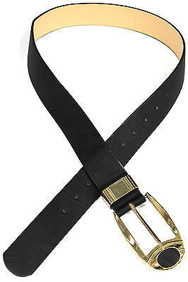 Women Leather Wide Long Cinch Waist Hip strap Belt Black Waistband Gold Buckle