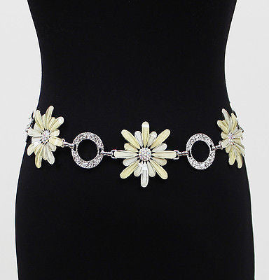 Women Big Flower Full Metal Wide Chain Hip Waist Circle Belt Silver Belt Wedding