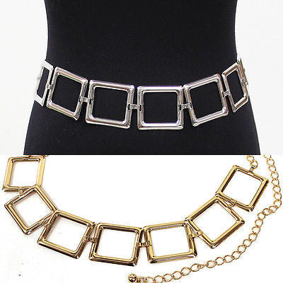 New Women Bling Fashion square Wide Chain Full Metal Hip Waist Belt Silver Gold