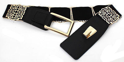 WOMEN ELASTIC Vintage Gold Metal Hook WAIST WIDE BELT Stretch Western Fashion