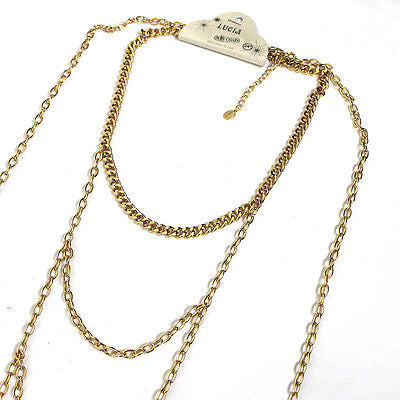 Women Body Full Metal Wide Chain Gold Silver JEWELRY Necklace Bikini Harness