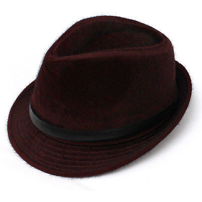 Mens Womens Unisex calf hair Vintage Trilby Fedora  Wide Brim Cap Hat PU Leather