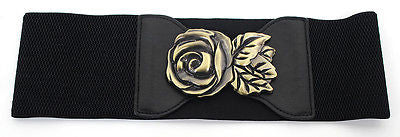 Sexy WOMEN ELASTIC WIDE Gold Metal Flower Rose Hook WAIST Hip BLACK BELT Stretch