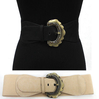 WOMEN ELASTIC Vintage Gold Metal WAIST WIDE BELT Stretch Western Fashion S ~ XL
