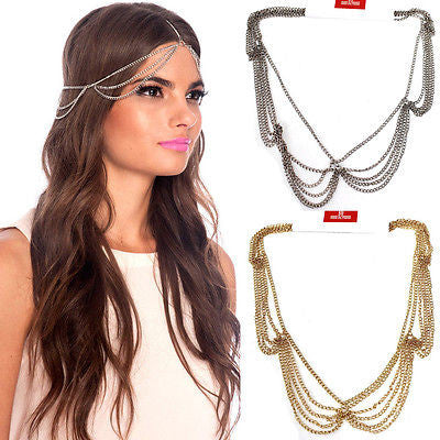 New WOMEN GOLD Silver HEAD Piece headband METAL SIDE WAVES CHAIN FASHION Wedding