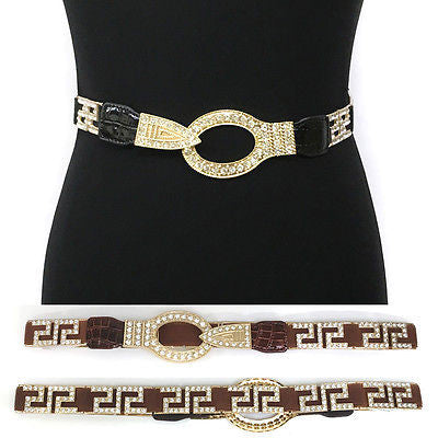 WOMEN Western Fashion ELASTIC Gold Metal Hook WAIST WIDE BELT Stretch Rhinestone