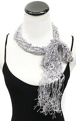 Women Sequin fishnet Skinny Fringed Scarf or Tie Belt Bow Kimono Waistband Wrap