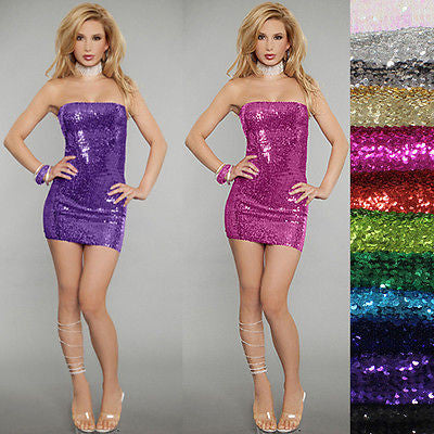 Sexy Dencer Slim Club wear Bling Full Sequins Bodycon Sheath Party Dress Dence