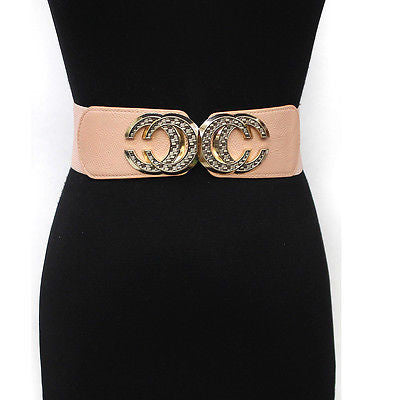 Classy WOMEN Fashion Wide ELASTIC BELT stretch Waist Circle Gold Metal BUCKLE