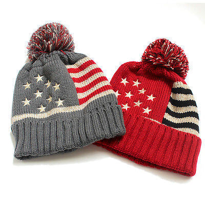 Women Men Winter Fashion Woolen Knit crochet Hat Cap USA Flag Star Warm Ski