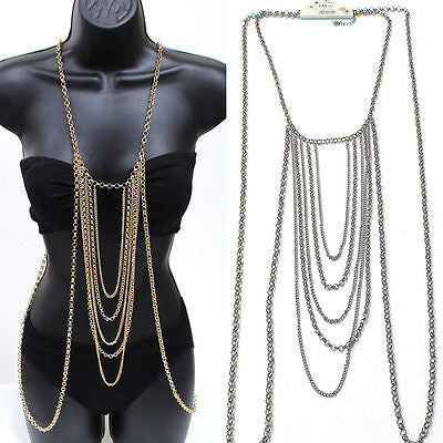 Body Full Metal Chain Silver Gold JEWELRY Necklace Bikini Belly rihanna Harness