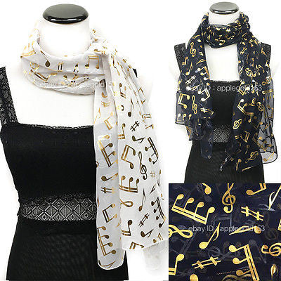 *USA Ship* Gold Note Foil Printed Sparkle Glitter Shawl Long Scarf Wrap Festive