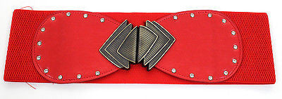 WOMEN Fashion ELASTIC WIDE RHINESTONES WAIST HIP Hook BELT Stretch Cinch Metal