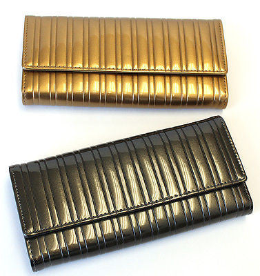 Lady Women Glossy Long Wallet Trifold Clutch Card Coin Holder Purse Faux Leather
