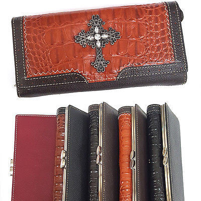 Women South Western Wallet Metal Stud Genuine Leather Cross Card Coin Holder