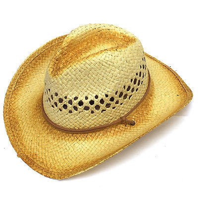 Unisex Mens Womens Hat Outlaw Straw Cowboy Hats Western Style Shapeable Rodeo