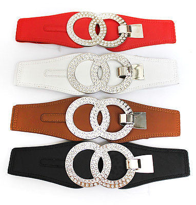 Women Classy Cinch Silver Metal Circle Elastic Waist Belt Stretch Rhinestone