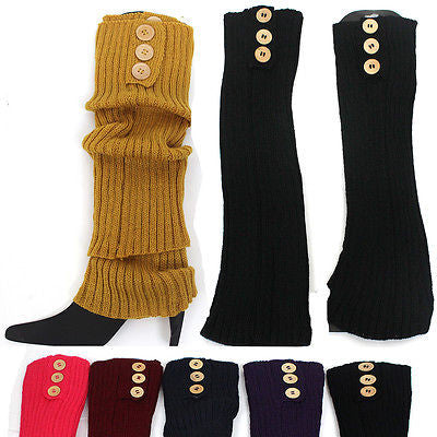 Women Crochet Knit Button Boot Leg Warmers Socks Cuffs Knee High Long LEGGING