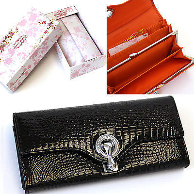 USA Gift Box Women Genuine leather Long Wallet Clutch Card Coin Holder Rhineston