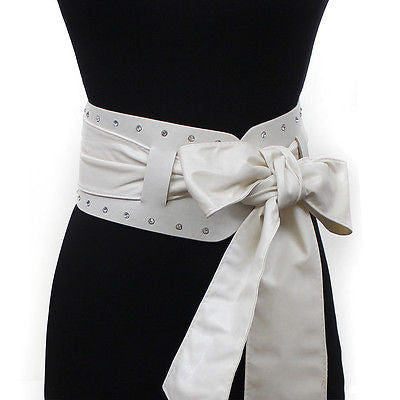 Women 2 in 1 Tie Corset Wide Kimono Wrap Cinch Waistband Obi Bow Rhinestone Belt