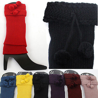 Women Crochet Knit Boot toppers Bow Tie Leg Warmers LEGGING Cuffs Knee High Long