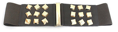 Women Western Fashion ELASTIC Gold Metal Bling BUCKLE WAIST WIDE BELT stretch