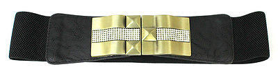 WOMEN Fashion Wide ELASTIC BELT stretch Waistband Gold Metal Rhinestone Dress