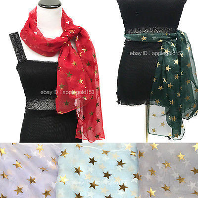 Bling Gold Star Foil Printed Sparkle Glitter Shawl Long Scarf Wrap Festive Party
