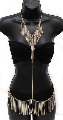 Sexy Women Body Full Metal Chain JEWELRY Necklace Bikini Belly Harness Hip Waist