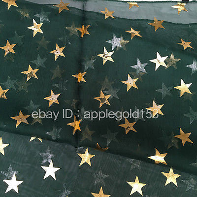 *USA Ship* Gold Star Foil Printed Sparkle Glitter Shawl Long Scarf Wrap Festive